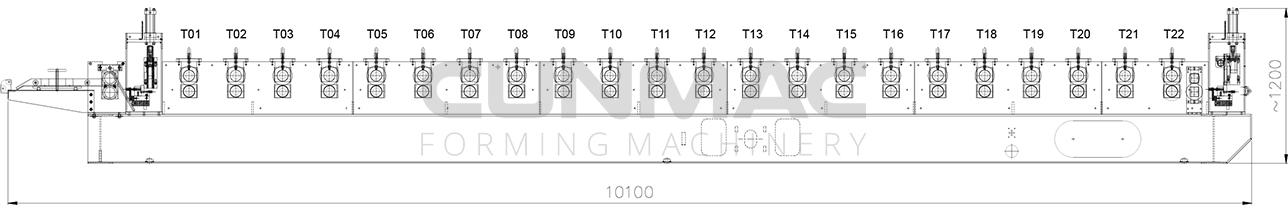 thiết kế máy cán tôn sóng vuông 1 tầng